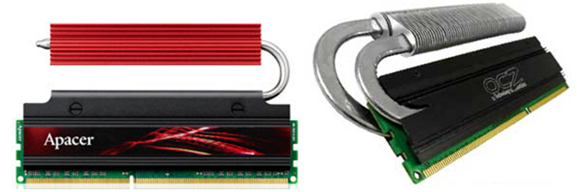 Heat Pipes for Cooling Performance Memory (Source: Apacer & OCZ)