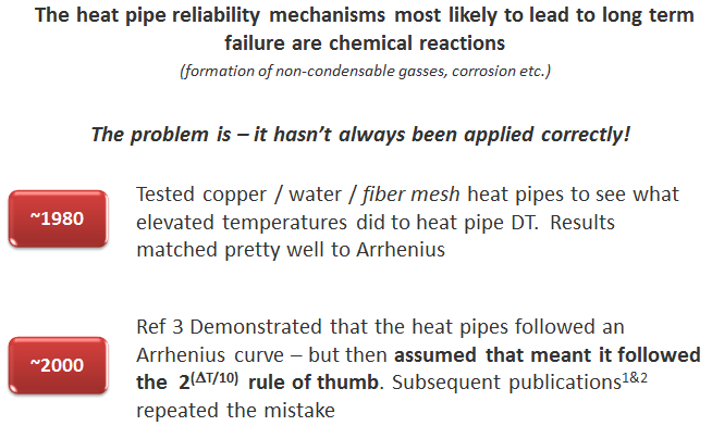 Heat Pipes and Arrhenius Equation