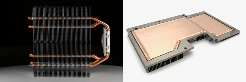 Compare the design flexibility of heat pipes and vapor chambers