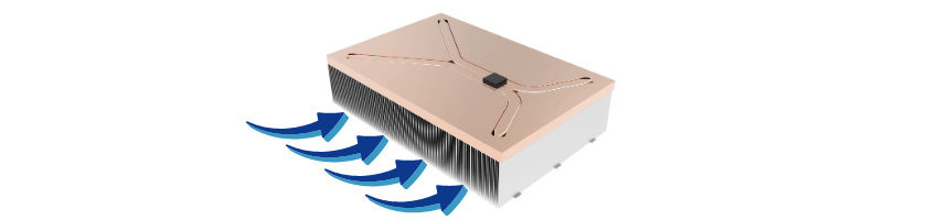 Direction of airflow across heat sink